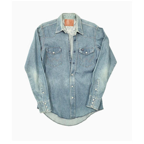 WESTERN CUTTING EMBROIDERY SHIRT -USED DENIM-