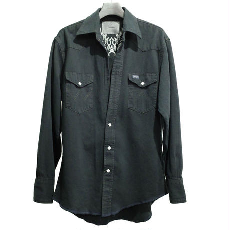 WESTERN CUTTING EMBROIDERY SHIRT -USED DENIM BLACK DYED- A