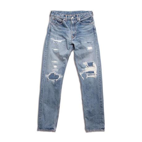 5 POCKET GRUNGE TAPERED PANTS -USED WASHED DENIM-