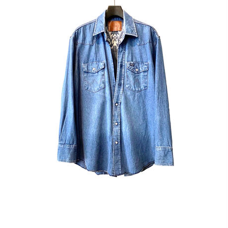 WESTERN CUTTING EMBROIDERY SHIRT -USED DENIM- TYPE A