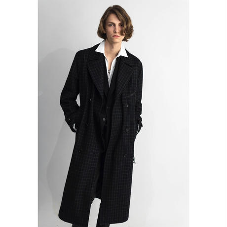 WESTERN TRENCH COAT -MELTON WOOL CHECK-