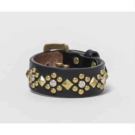 25mm STUDS BRACELET -flower-2- (BLACK)