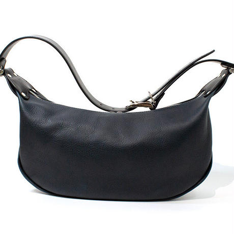 LEATHER BANANA BAG (NAVY)