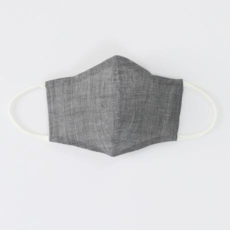 温感調整機能付きマスク M (遠州手しぼ かすれ格子/近江縮本着尺 灰)2枚1セット