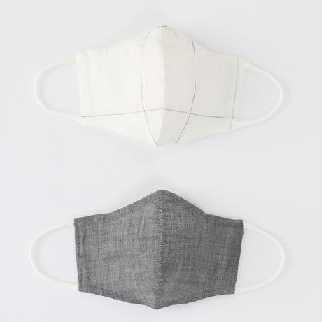 温感調整機能付きマスク S(遠州手しぼ かすれ格子/近江縮本着尺 灰)2枚1セット