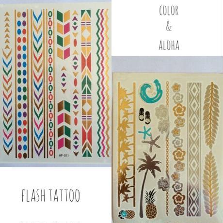 flash tattoo  2枚セット(color&ALOHA)