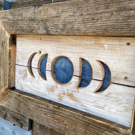 Denim moon wood board by puka場art