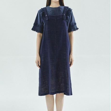 GAUZE JUMPER DRESS NAVY/BEIGE/BURGUNDY_(KR-005)