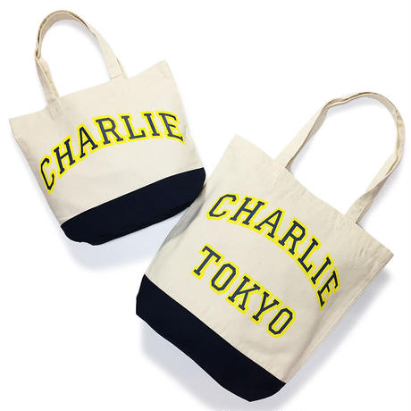 THE CHARLIE TOKYO COLLEGE LOGO SMALL TOTE BAG (NAVY)