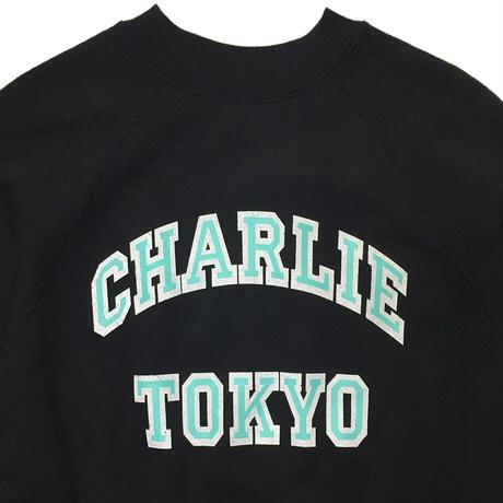 THE CHARLIE TOKYO COLLEGE LOGO SWEATSHIRT (BLACK × TIFFANY)