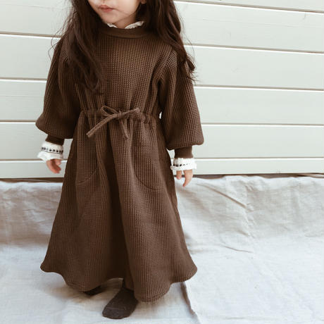 kids| cotton waffle long dress
