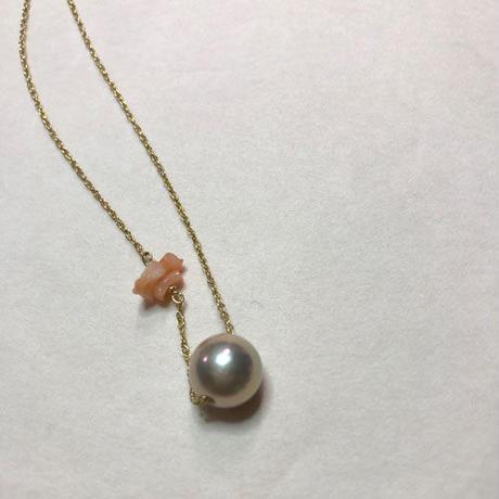 一粒 淡水パールのネックレス(ほんのりピンク色)/wコーラルビーズ
