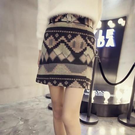 【2カラー】オルテガ柄 ウール調 スカート