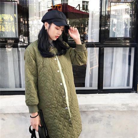【2カラー】ノーカラー キルティング コート