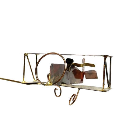 Metal & driftwood airplane mobile 70's