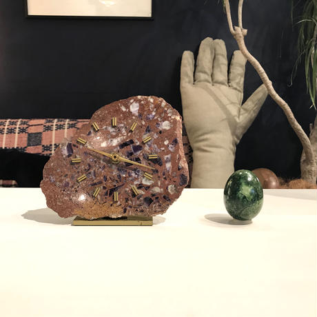 Stone slab table clock