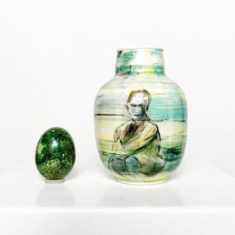 Hand painting ceramic art vase 1982's