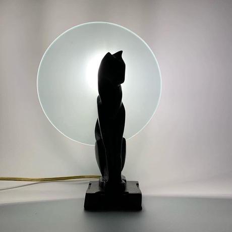 Bronze & glass cat table lamp 50's - 60's