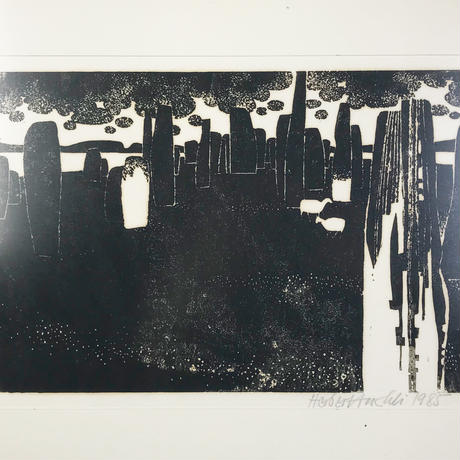 Abstract design lithograph 1985's