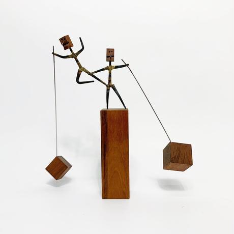 Handmade wood & iron mobile sculpture