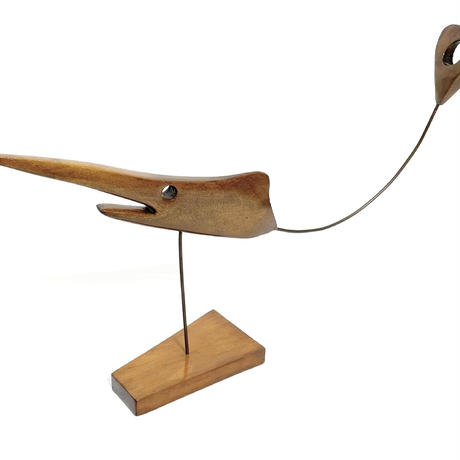 Wood & metal wire fish