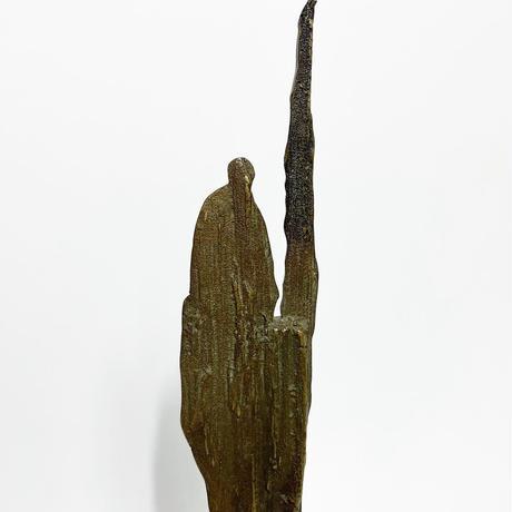 Abstract bronze&wood sculpture