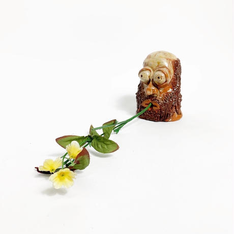 Handmade ceramic oldman face