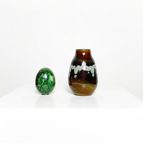 Glass painting art vase 1978's
