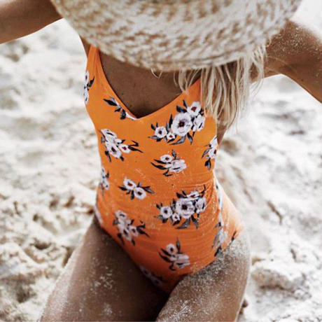 TB-003 Fresh Orange Flower One Piece