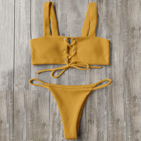 TB-127   Mustard&Red Rib Lace Up Bikini