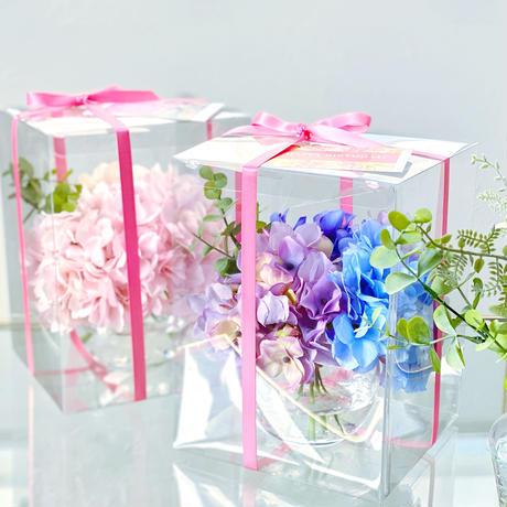 桜色の紫陽花の夢 【お手入れ不要】水ジェルに生けた枯れないお花の花瓶付きセット〜春の訪れ〜♪