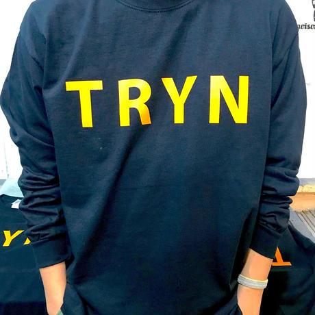 TRYN LOGO ロングTシャツ ブラック×マスタード