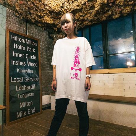 【SKULL SKATES】PDS HOT SHOP Tシャツ(ホワイトxピンク)