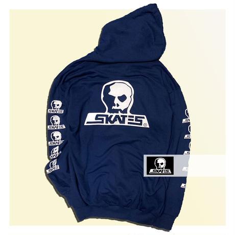 【SKULL SKATES】NAVY MOONSET(ネイビーxホワイト) ロゴ フードスウェット