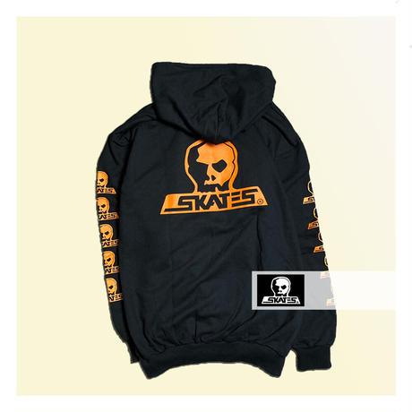 【SKULL SKATES】BLACK SUNSET(ブラックxオレンジ) ロゴ フードスウェット