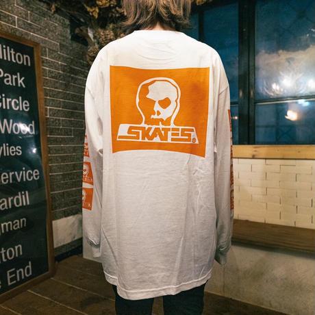 【SKULL SKATES】SKULL SKATES WHITE SUNSET(ホワイトxオレンジ) 限定カラー ロングスリーブ