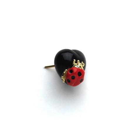 小さいハートとテントウ虫のピアス・イヤークリップ / 2色