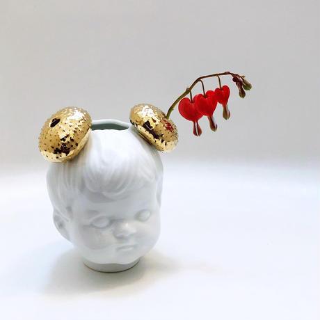 ウニ団子ヘアーのフラワーベース / ゴールド