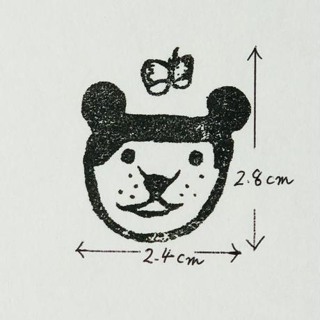 起き上がりこぼし風ハンコ(大きな熊ちゃん・桃色)