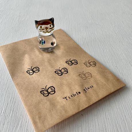 茶猫ハンコ(蝶々①)