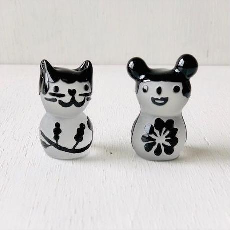 猫ハンコ(ラッパ型お花模様の黒ちゃん)