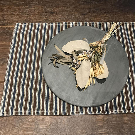 THE STRIPES Place Mat / BROWN x INDIGO