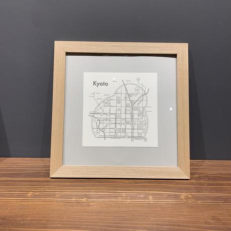 Map in Frame - KYOTO (black on white)