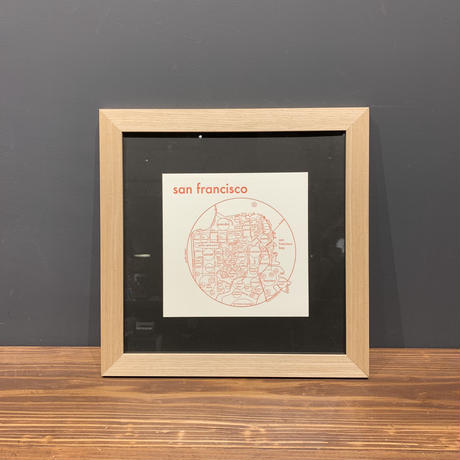 Map in Flame - SAN FRANCISCO (red on white)