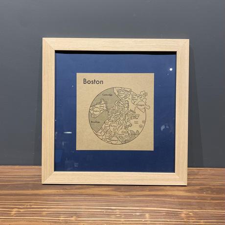 Map in Frame - BOSTON (black on brown)