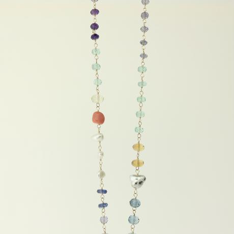 K18YG Colors フローライト・マルチカラーネックレス