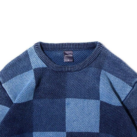 APPLEBU   BLEACH INDIGO MIX CREW SWEATER