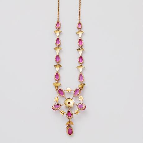 ヴィクトリアンネックレス*pink paste & pearl