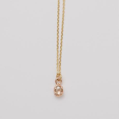 アンティークダイヤのプチペンダント(楕円)*pink gold + yellow gold