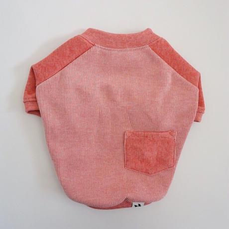 ヒッコリーデニムのラグランTシャツ// レッド       [フレブル服TiTiTi]